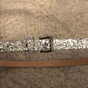 J.Crew Silver Skinny Crushed-Glitter Belt SZ S